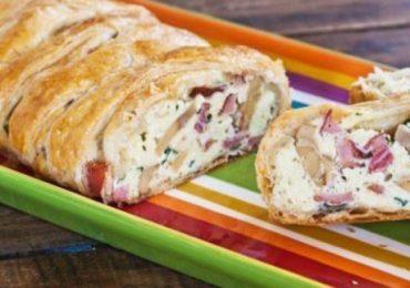 Руло с гъби, сирене и пушен бут от бутер тесто – рецепта със снимки!