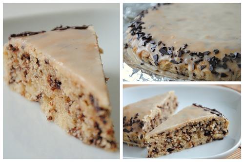 Бърза орехова торта с парченца шоколад и глазура