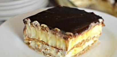 Торта с пудингов крем и бисквити – чудесен десерт за 30 минути
